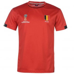 Belgium FIFA World Cup 2018 Poly T Shirt Mens (Red)