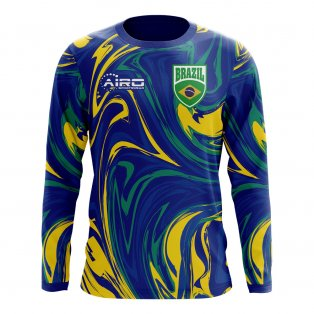 2020-2021 Brazil Long Sleeve Away Concept Football Shirt (Kids)