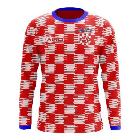 e3043feb810 2018-2019 Croatia Long Sleeve Home Concept Football Shirt (Kids ...