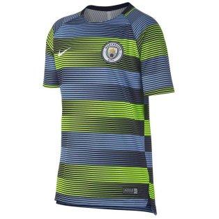 2018-2019 Man City Nike Pre-Match Training Shirt (Volt-blue)