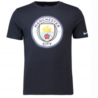 2018-2019 Man City Nike Evergreen Crest Tee (Obsidian)