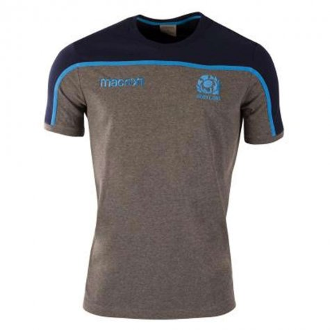 2018-2019 Scotland Macron Rugby Travel Polycotton T-Shirt (Charcoal) - Kids