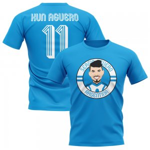 Sergio Aguero Argentina Illustration T-Shirt (Sky)