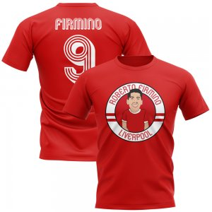 Roberto Firmino Liverpool Illustration T-Shirt (Red)