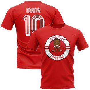 Sadio Mane Liverpool Illustration T-Shirt (Red)