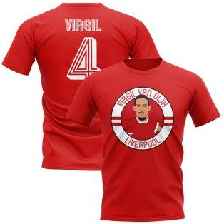 Virgil Van Dijk Liverpool Illustration T-Shirt (Red)