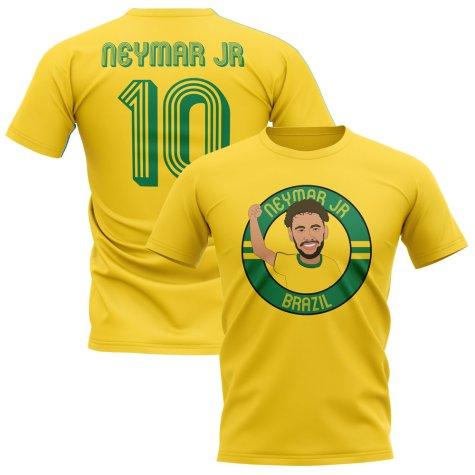 Neymar Jr Brazil Illustration T-Shirt (Yellow)