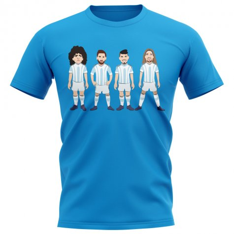 Argentina Players Illustration T-Shirt (Sky)