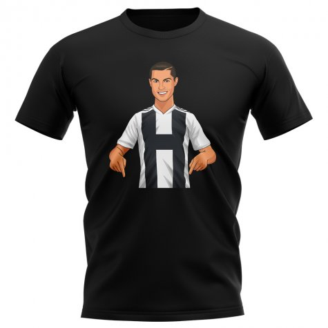 Cristiano Ronaldo Juventus Gunnerballz T-Shirt (Black)