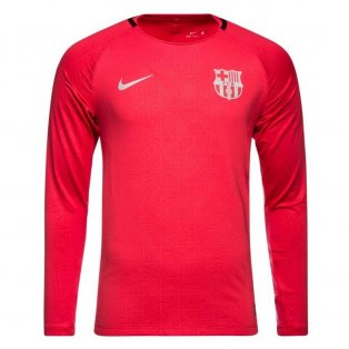 2018-2019 Barcelona Nike Long Sleeve Training Shirt (Tropical Pink) - Kids