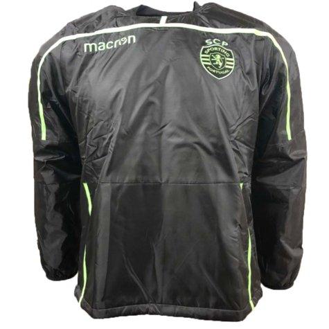 2018-2019 Sporting Lisbon Macron Windbreaker Jacket (Black)