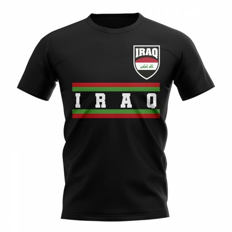 Iraq Core Football Country T-Shirt (Black)