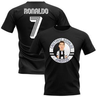 Cristiano Ronaldo Juventus Illustration T-Shirt (Black)