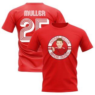 Thomas Muller Bayern Munich Illustration T-Shirt (Red)