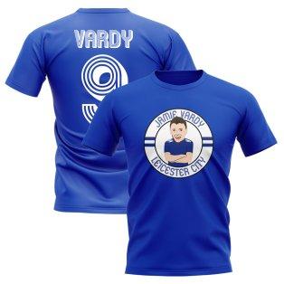 Jamie Vardy Leicester Illustration T-Shirt (Blue)