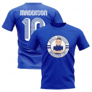 James Maddison Leicester Illustration T-Shirt (Blue)