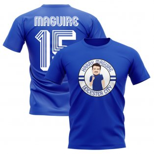 Harry Maguire Leicester Illustration T-Shirt (Blue)