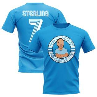 Raheem Sterling Man City Illustration T-Shirt (Sky)
