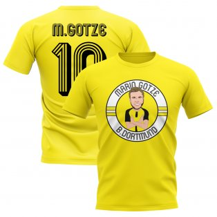 Mario Gotze Borussia Dortmund Illustration T-Shirt (Yellow)