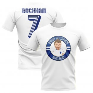 David Beckham England Illustration T-Shirt (White)