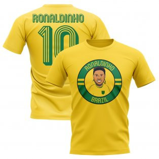 Ronaldinho Brazil Illustration T-Shirt (Yellow)