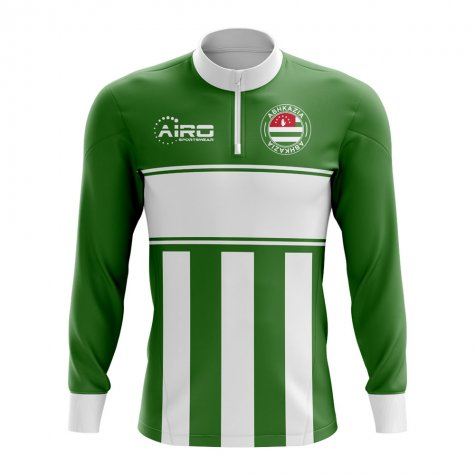 Abkazia Concept Football Half Zip Midlayer Top (Green-White)