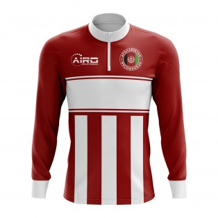 Afghanistan Concept Football Half Zip Midlayer Top (Red-White)