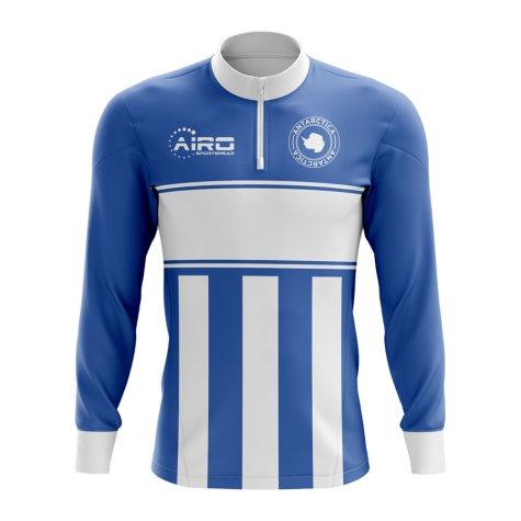 Antartica Concept Football Half Zip Midlayer Top (Blue-White)