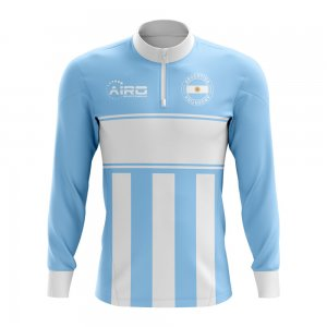 Argentina Concept Football Half Zip Midlayer Top (Sky Blue-White)