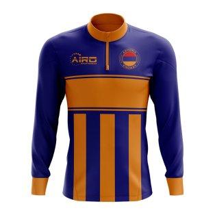 Armenia Concept Football Half Zip Midlayer Top (Blue-Orange)