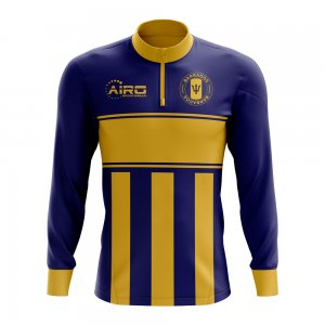 Barbados Concept Football Half Zip Midlayer Top (Blue-Yellow)