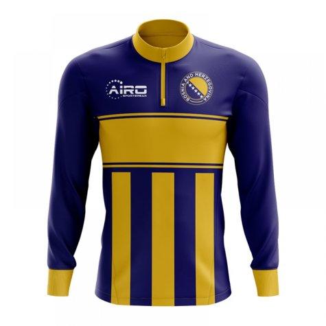 Bosnia and Herzegovina Concept Football Half Zip Midlayer Top (Blue-Yellow)