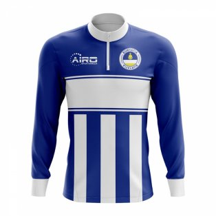 Buryatia Concept Football Half Zip Midlayer Top (Blue-White)