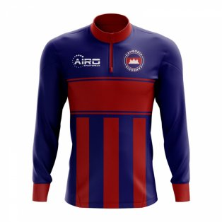 Cambodia Concept Football Half Zip Midlayer Top (Blue-Red)