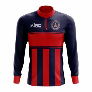Cayman Islands Concept Football Half Zip Midlayer Top (Blue-Red)