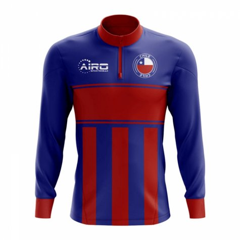 Chile Concept Football Half Zip Midlayer Top (Blue-Red)