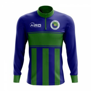 Christmas Island Concept Football Half Zip Midlayer Top (Blue-Green)