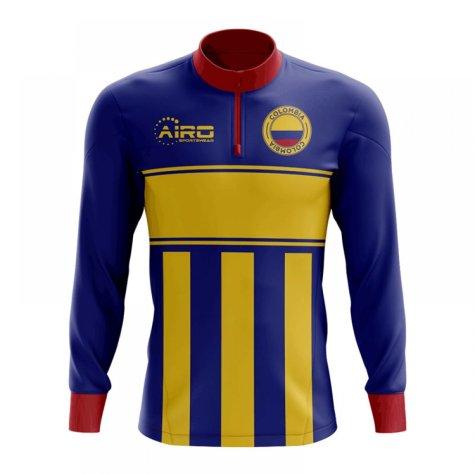 Colombia Concept Football Half Zip Midlayer Top (Blue-Yellow)