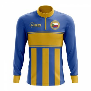Comoros Concept Football Half Zip Midlayer Top (Blue-Yellow)