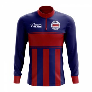 Costa Rica Concept Football Half Zip Midlayer Top (Blue-Red)
