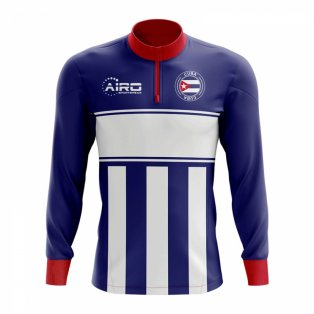 Cuba Concept Football Half Zip Midlayer Top (Blue-White)