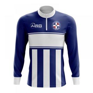 Dominican Republic Concept Football Half Zip Midlayer Top (Navy-White)