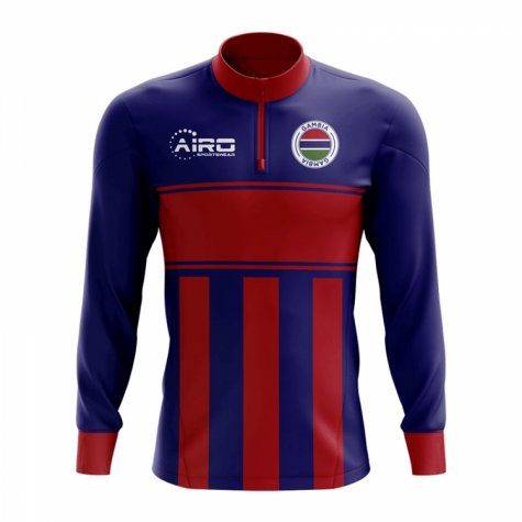 Gambia Concept Football Half Zip Midlayer Top (Blue-Red)