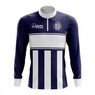 Greece Concept Football Half Zip Midlayer Top (Navy-White)
