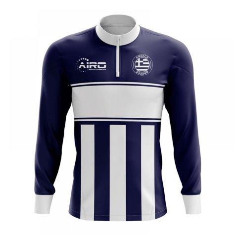 Greece Concept Football Half Zip Midlayer Top (Navy-White)