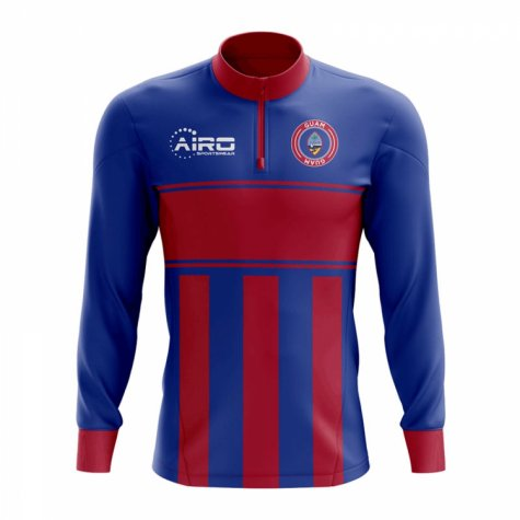 Guam Concept Football Half Zip Midlayer Top (Blue-Red)