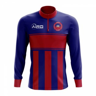 Haiti Concept Football Half Zip Midlayer Top (Blue-Red)