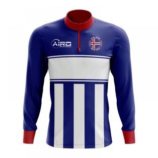 Iceland Concept Football Half Zip Midlayer Top (Blue-White)
