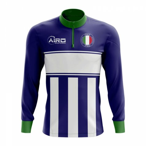 Italy Concept Football Half Zip Midlayer Top (Blue-White)