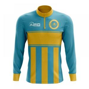 Kazakhstan Concept Football Half Zip Midlayer Top (Sky Blue-Yellow)